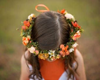 Autumn hair wreath Children wreath in orange tones Hair wreath for flowergirl Flower hair wreath Wedding hair accessories
