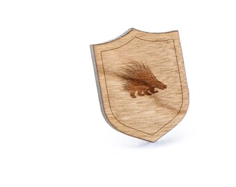 Porcupine Lapel Pin, Wooden Pin, Wooden Lapel, Gift For Him or Her, Wedding Gifts, Groomsman Gifts, and Personalized