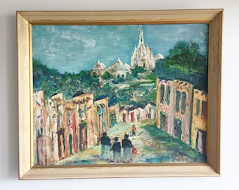 Original Signed Painting Village and Temple