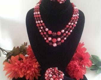 ON SALE Vintage Red & Pink Necklace Set, 1950's Demi Parure, New Old Stock Jewelry