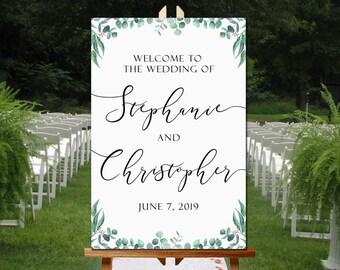Eucalyptus Bienvenue signe de mariage imprimable, Bienvenue affiche, Bienvenue à notre mariage, le signe bienvenu imprimable, le signe de mariage imprimable, vous imprimez
