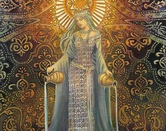 The Star Goddess of Hope Mythological Tarot Art 8x10 Print Pagan Mythology Psychedelic Bohemian Gypsy Goddess Art