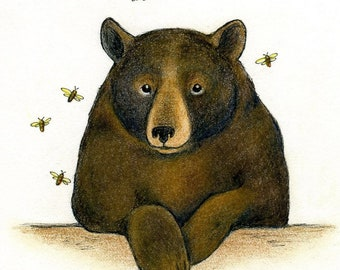 brown bear and honey bees original ink and colored pencil drawing