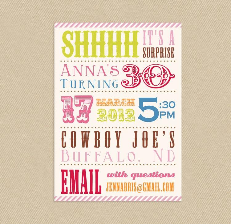 Printable Circus Theme Birthday Party Invitation 4x6 or 5x7