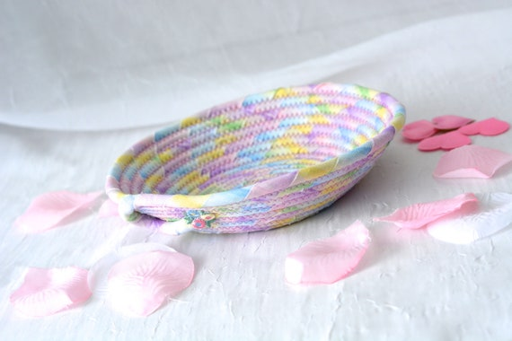 Spring Violet Basket, Handmade Artisan Bowl, Cute Key Tray, Desk Accessory Basket, Pink Artisan Quilted Bowl, Bling Ring Dish
