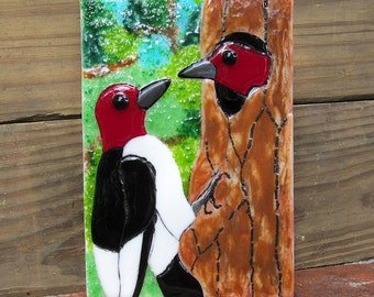 Red Headed Woodpeckers Fused Glass Art Panel Tile Nature Woodland Scene