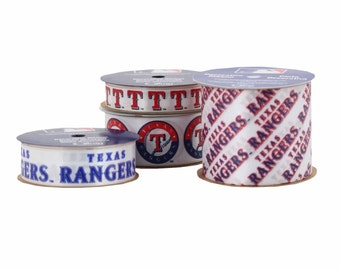 Offray 4-Pack MLB Texas Rangers Ribbon, White/Red/Blue