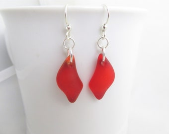 red earrings red sea glass beach glass jewelry
