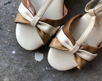 7 1/2 / 1970s Naturalizer Cork Wedge Coffee Toned Sandals
