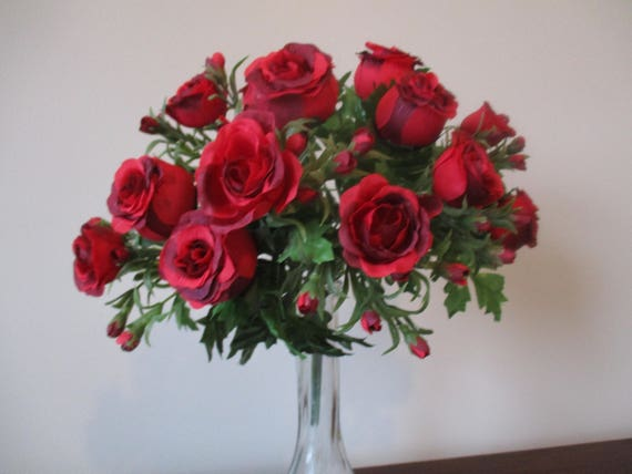 13 red rose bush artificial flowers floral supplies diy silk flower 13 red rose bush artificial flowers floral supplies diy silk flower centerpiece wedding home decor supplies 189 from foreverbloomsbylori on etsy studio mightylinksfo