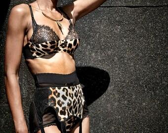 Silk Leopard Print Bra with black lace & underwire