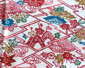 Bingata Silk - Japanese kimono fabric - Red