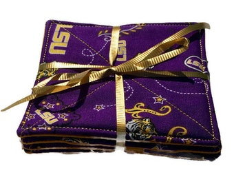 LSU Tigers Coasters, Louisiana State University Coasters, LSU Small Gift, LSU Man Cave, Tigers Fabric Coasters, Quiltsy Handmade