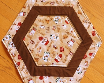 Quilted, Reversible Large Octagon Candle Mat, Center Piece, Table topper, Different Coffee and Beans, Brown Sashing, Handmade Table Linens