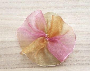 Rainbow organza kanzashi flower