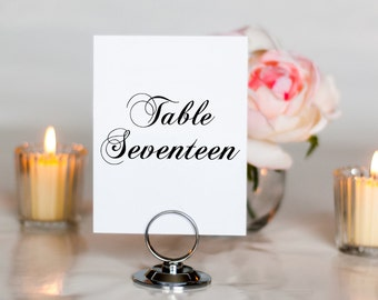 Simple and Elegant Script Wedding Table Number, 4x6, 5x7, Tented, Folded