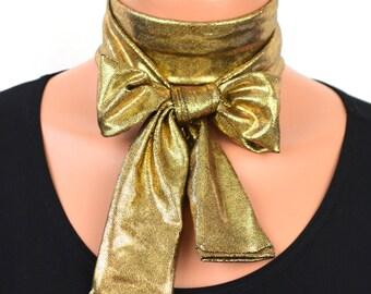 Black Gold Scarf Metallic Necktie Gold Lightweight Scarf Ascot Tie Holiday Tie Head Wrap Christmas Gift Under 20 Hair Tie Gold Unisex Cravat