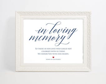 Navy Blue In Loving Memory Sign, Wedding Sign, In Memory Sign, Memory Sign, Wedding Printable, Memorial Table Sign, WPC_893SD1B