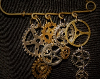 Steampunk Antique Bronze Safety Pin Brooch Gears
