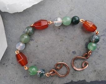 Moss Agate Green Aventurine Carnelian Bracelet, Prosperity Bracelet, Healing Crystals, Natural Stones