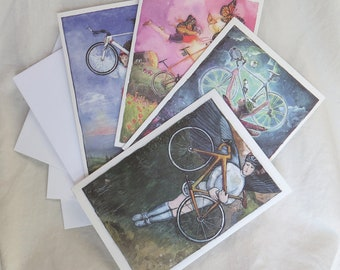 Four Bicycle Note Cards: Bike, Women, Fairy, Angel, Tandem, Winged, Female, Watercolor, Original, Dream, Poppy, Road, Tri, Triathlon