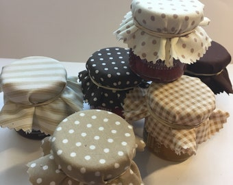 Wedding Favour Fabric in Beige and Brown Mini Jam Jar Lid Top Covers X 50 Jam Pot Covers Fabric Jar Covers Mini Jar Covers with twine & band