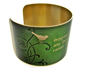 "GEORGE BERNARD SHAW cuff bracelet ""Progress is impossible without change..."" vintage style brass Gifts for her"