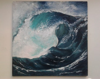 Rogue Wave Acrylic Art Wood Panel Painting