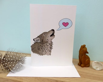Wolfy Love, grey wolf love heart illustration, blank greeting card, 340gsm 105mm x 148mm, matt card inside, plain white envelope