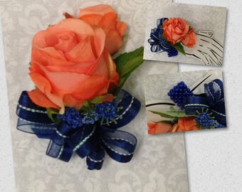 New Artificial Coral Reef Rose Corsage with Navy, Coral and Navy Rose Mother's Corsage, Navy & Coral Corsage Wrist or Pin On