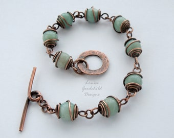 Amazonite bracelet, semi precious, gemstone bracelet, amazonite, copper bracelet, wire wrapped, solid copper, turquoise bracelet, wire