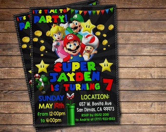 Super Mario Invitation, Super Mario Printable Invitation, Mario Digital File, Super Mario Birthday Party Invitation, Luigi, Yoshi, Mario