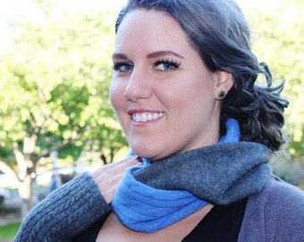 Cashmere Infinity scarf Gray/Blue/Navy