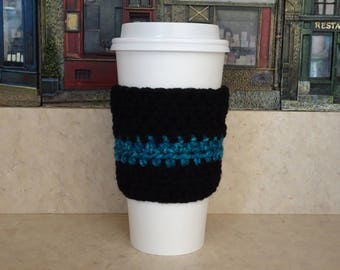 Black and Blue Cup Sleeve, Crochet Cup Sleeve, Crochet Cup Cozy, Cup Cozy, Reusable Cup Sleeve, Coffee Lover Gift, Tea Cozy,