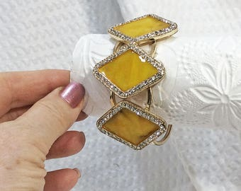 Three Yellow Nacre Diamond-shaped Tiles Fashion Bracelet