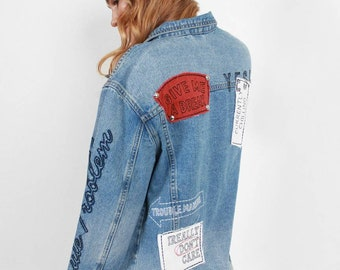 Jean Jacket / Large / Brand New By Boom Boom Jeans / Patched & Studded