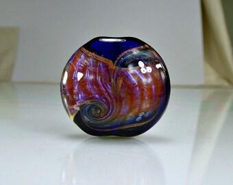 Blue Pink Amber Lampwork Focal Bead SRA GLass Focal Bead