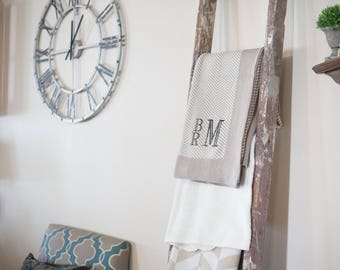 Monogrammed Throw | Adult Blanket | Monogrammed Blanket | Soft Cotton Throw | Herringbone Blanket | Wedding Gift | Anniversary Gift |