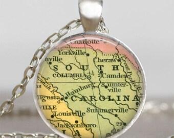South carolina map necklace,South carolina state map pendant, South carolina  map jewelry , map pendant jewelry  with gift bag