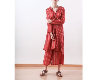 Womens Summer Loose Fitting Long Sleeve Stripes Silk Linen Blouses And Loose Pants With Pockets, Two Pieces Set, Casual Blouses,Casual Pants