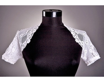WHITE Lace Wedding Bolero,Short Sleeve Bolero,Wedding White bolero, Custom Bolero, Sheer Wedding Lace Bolero LAST PIECE!