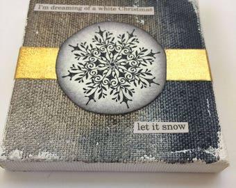 Let it Snow - Snowflake - Watercolor Canvas
