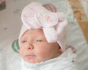 Pink Hospital Bow Hat Fancy Initial Monogram Girls Newborn Baby Shower Gift Coming Home