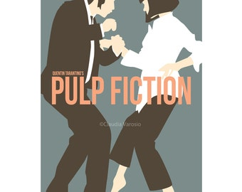 Pulp Fiction movie poster in blue in various sizes