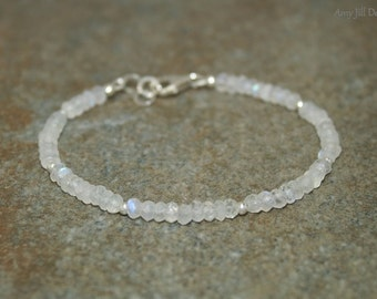 Rainbow Moonstone Bracelet, Moonstone Jewelry, Sterling Silver Beads, Blue Flash, Gemstone Jewelry