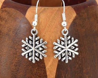 Snow earrings Christmas winter silver