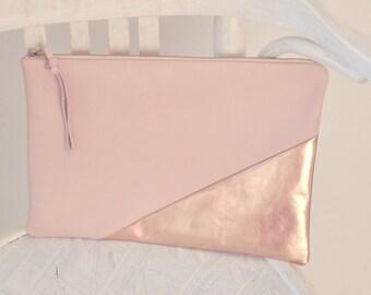 Leather Clutch, Leather Handbag, Evening Clutch, Pink Handbag, Wedding Clutch, Bridesmaid Purse, Leather Purse