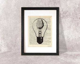 Brain print-brain dictionary print-Anatomy print-brain on book page-think and use your brain print-brain poster-brain-NATURA PICTA-DP045