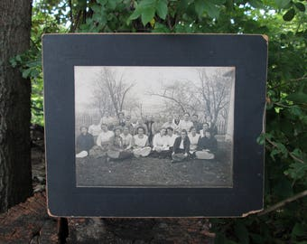 Ladies Aid Society Black and White Photograph 1917 Vintage Group of Women on Black Mat Board