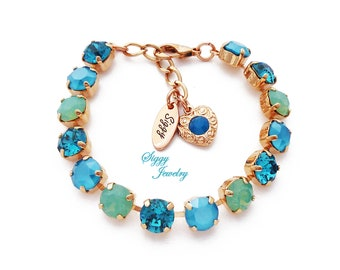 Swarovski® Crystal Bracelet, Opal Jubilee, Pacific Opals, Sea foam Green, Mint Opal, Teal Blue, Assorted Finishes and Lengths, Gift Packaged